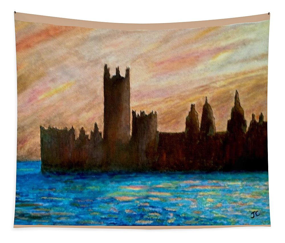 Monet Tapestry featuring the painting Houses Of Parliament by John Cunnane