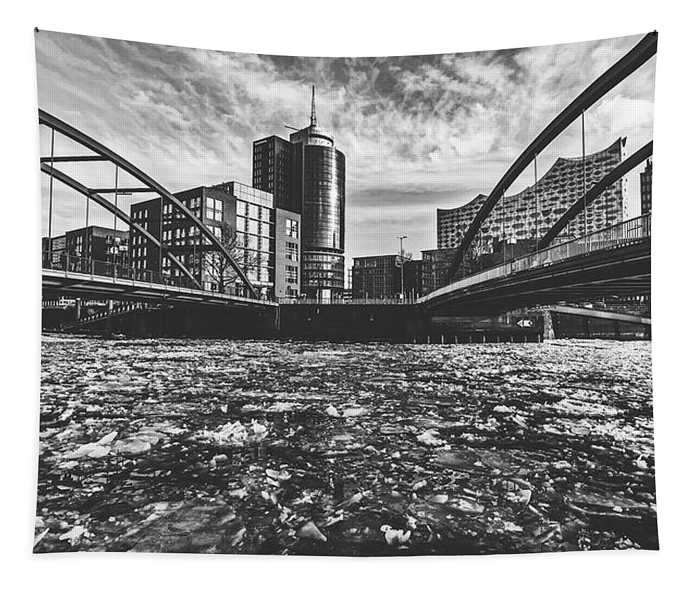 Hamburg Tapestry featuring the photograph Ice Chunks On The Elbe - Hamburg by Pixabay