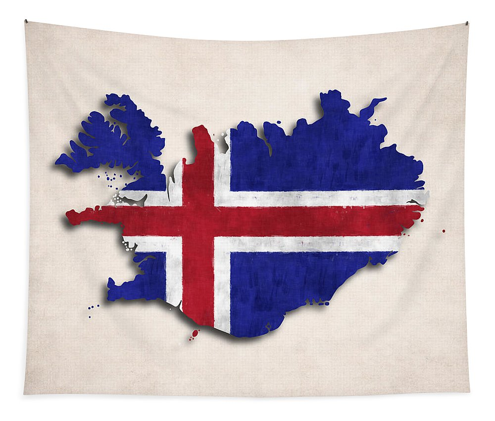 Iceland Tapestry featuring the digital art Iceland Map Art With Flag Design by World Art Prints And Designs