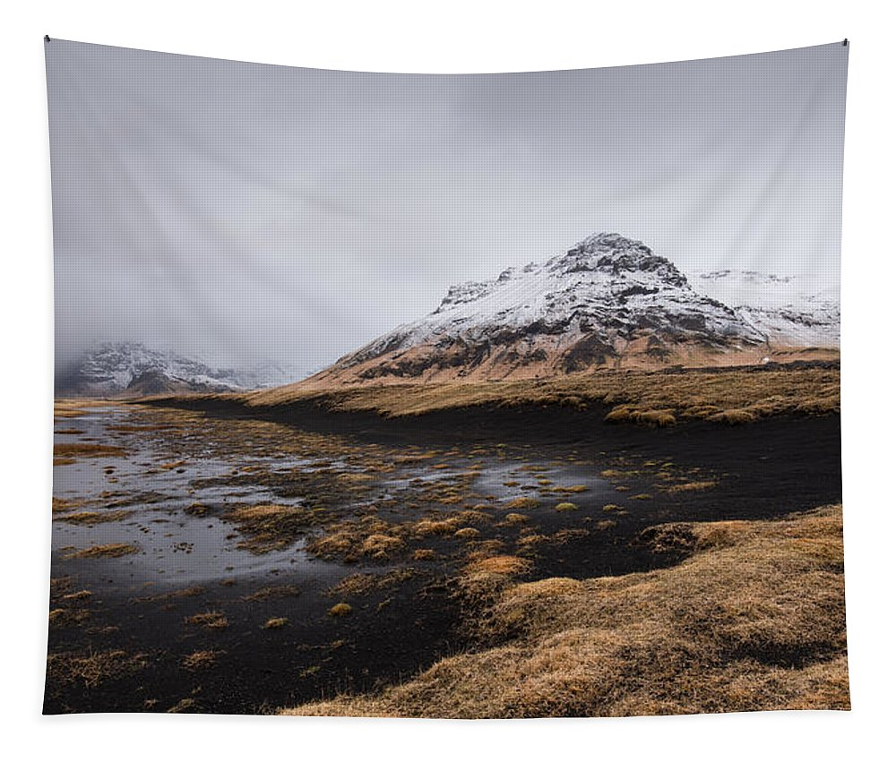 Icelandic Tapestry featuring the photograph Icelandic Mountain Landscape by Michalakis Ppalis