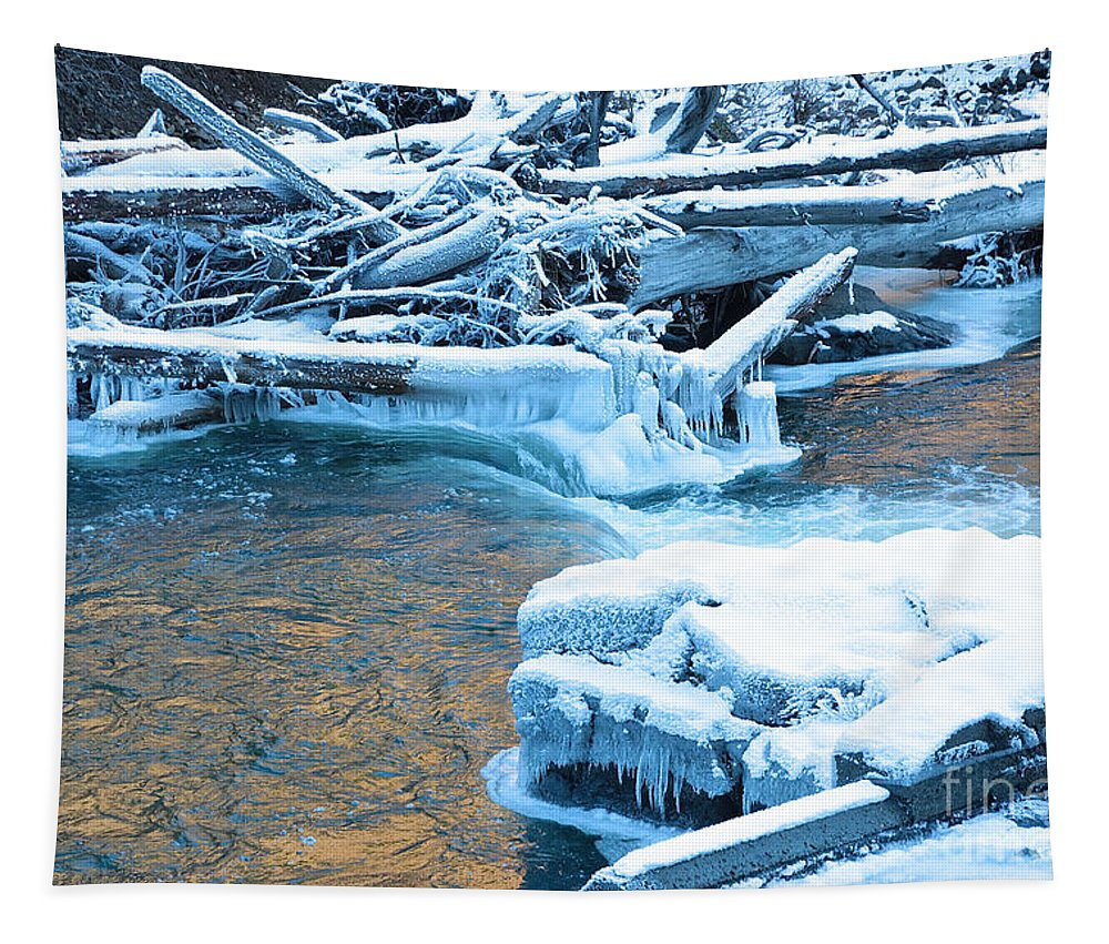 Winter Tapestry featuring the photograph Icy Blue River by Carol Groenen