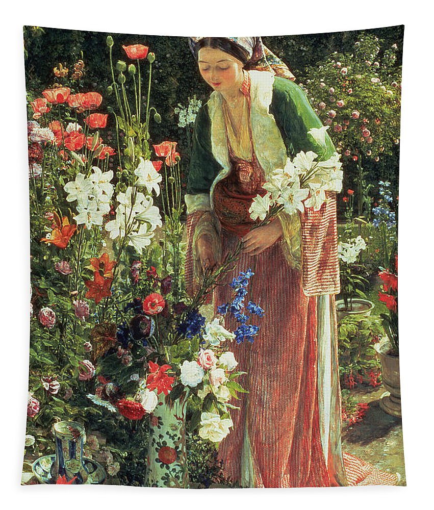 Flower Tapestry featuring the painting In The Bey's Garden by John Frederick Lewis