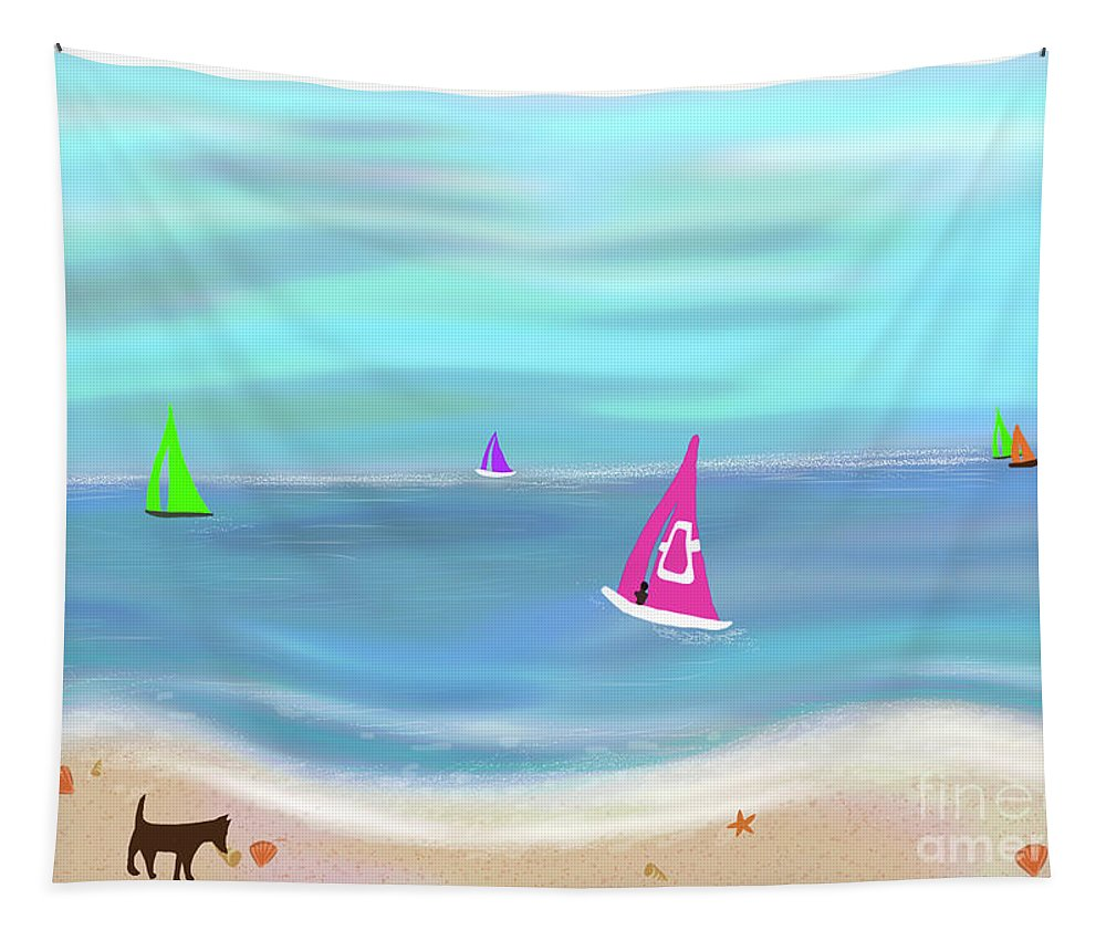 Pink Tapestry featuring the painting In The Pink - Sailing In Tropical Waters by Barefoot Bodeez Art
