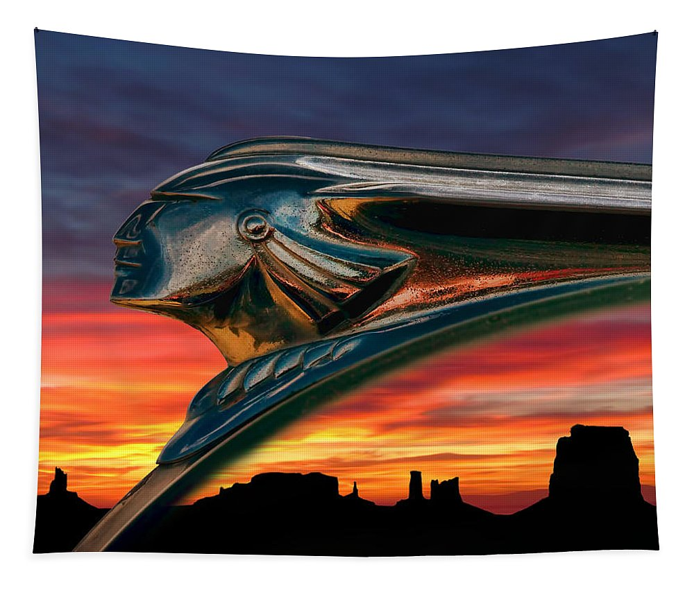 hood Orament Indian Mascot Pontiac Chrome monument Valley Sunset Landscape Dramatic Silhouette Fire Chief Automotive Auto Car Ornament Orange Mesa Canyon Tapestry featuring the digital art Indian Rainbow by Douglas Pittman
