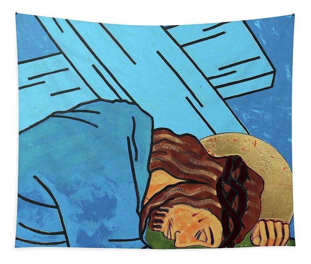 Jesus Falls Tapestry featuring the painting Jesus Falls by Sara Hayward