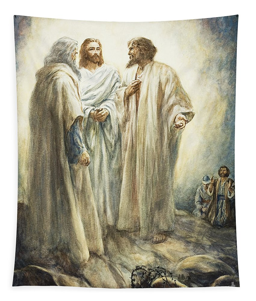 Jesus;christ;bible;transfiguration Tapestry featuring the painting Jesus by Henry Coller