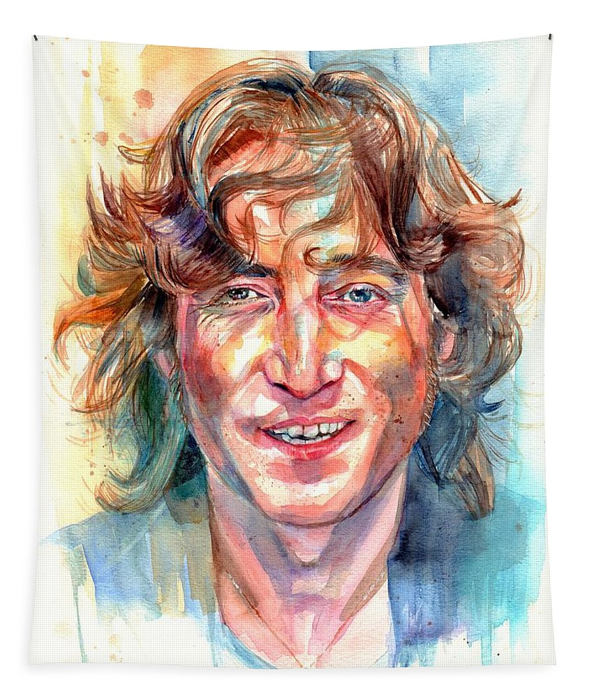 John Lennon Tapestry featuring the painting John Lennon portrait by Suzann Sines