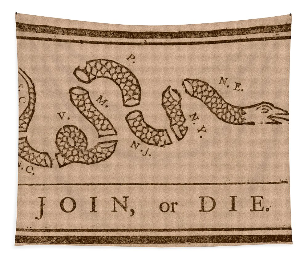 Join Or Die Tapestry featuring the mixed media Join Or Die by War Is Hell Store