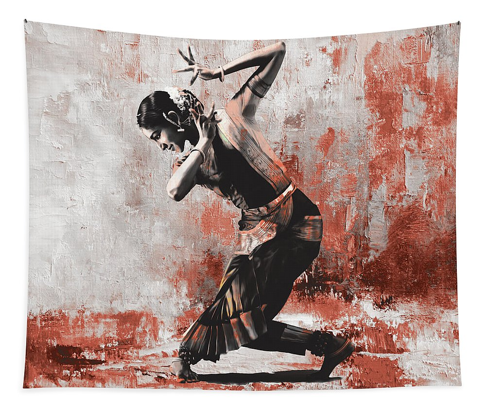 Dancer Tapestry featuring the painting Kathak Dancer by Gull G