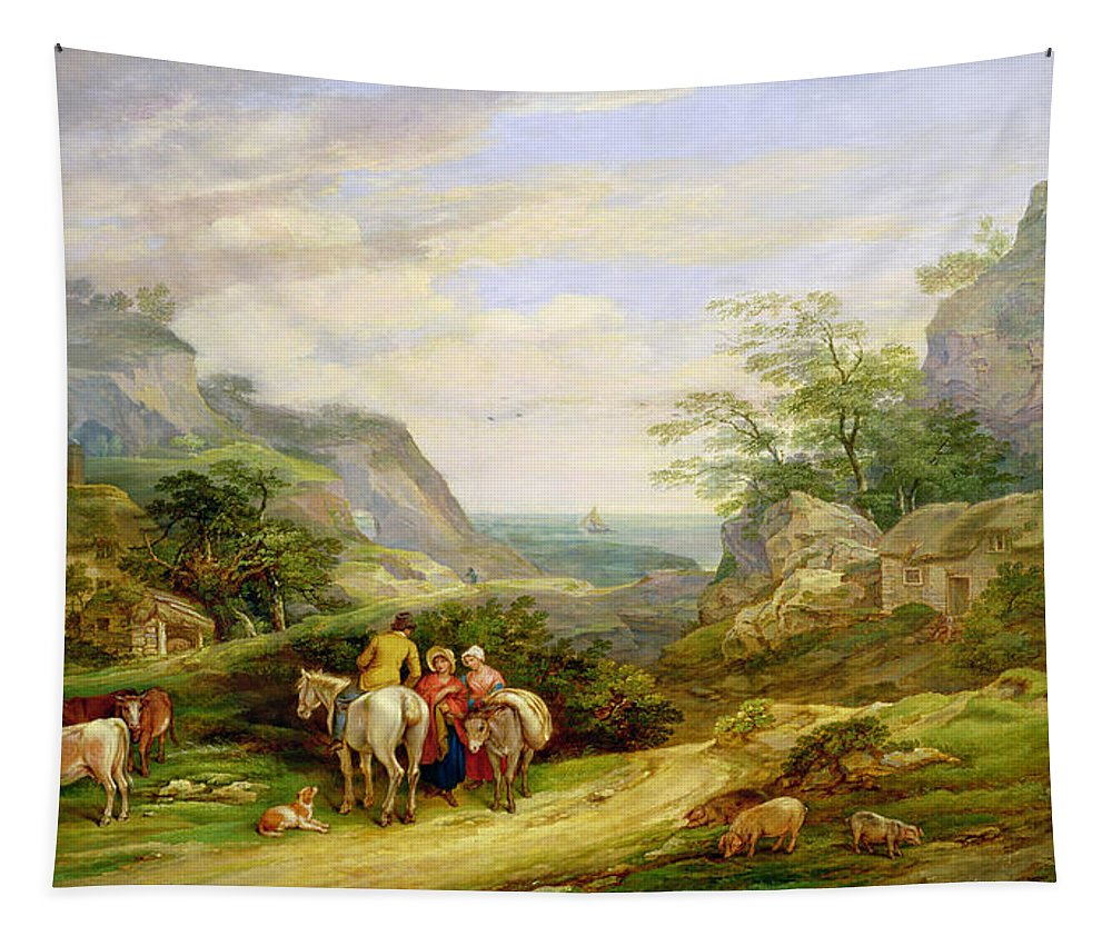 Rural Tapestry featuring the painting Landscape With Figures And Cattle by James Leakey