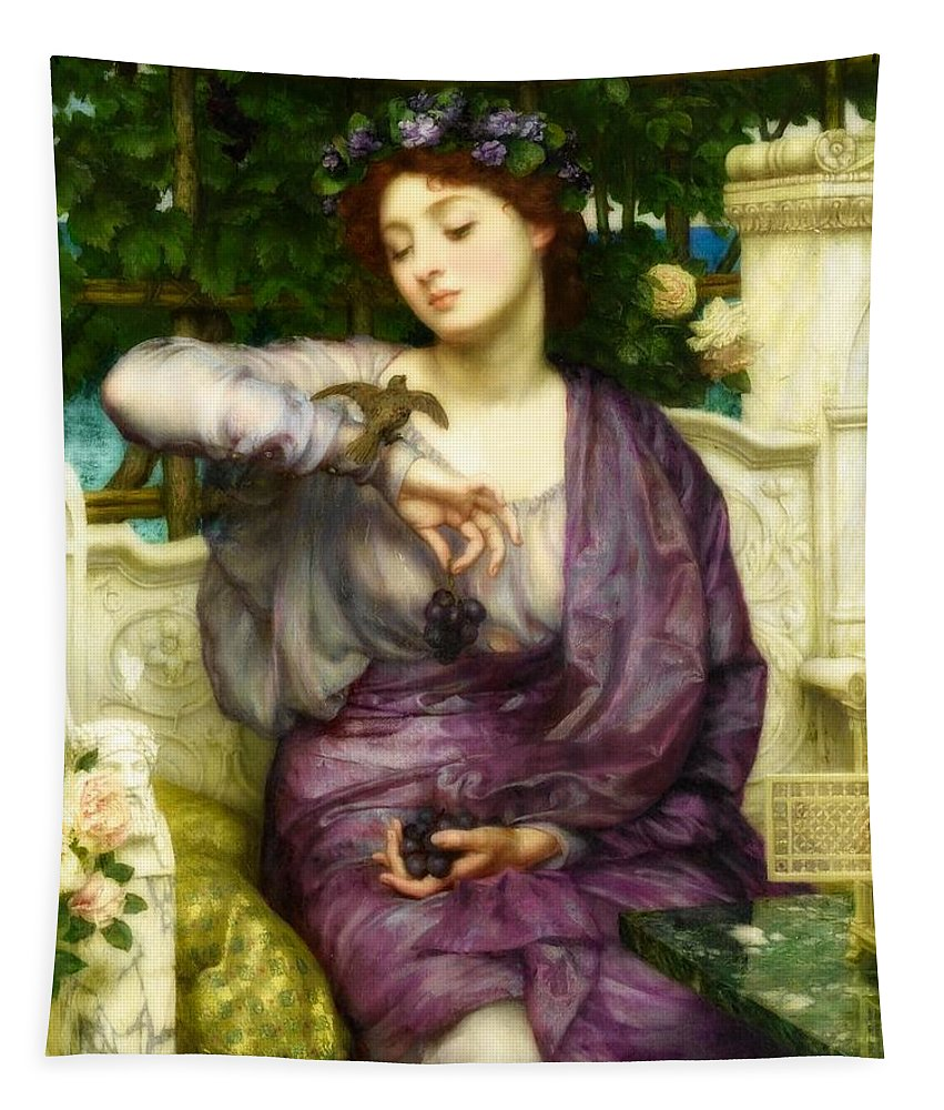 Painting Tapestry featuring the painting Lesbia And Her Sparrow by Edward Poynter