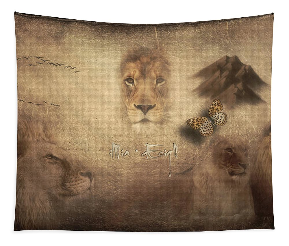 Lions Tapestry featuring the digital art Lions by Maria Astedt