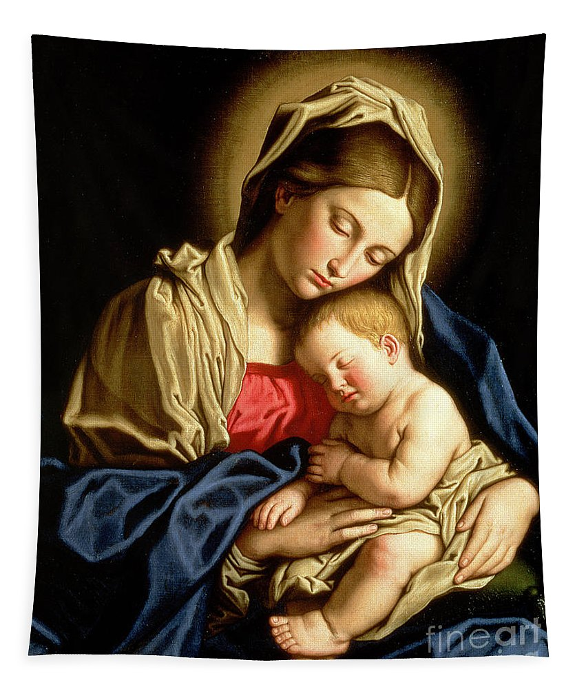 Mary Tapestry featuring the painting Madonna And Child by Il Sassoferrato