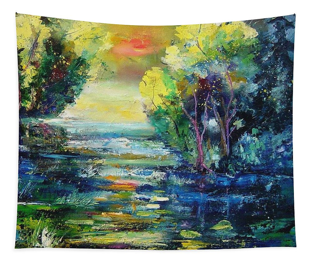 Pond Tapestry featuring the painting Magic Pond by Pol Ledent