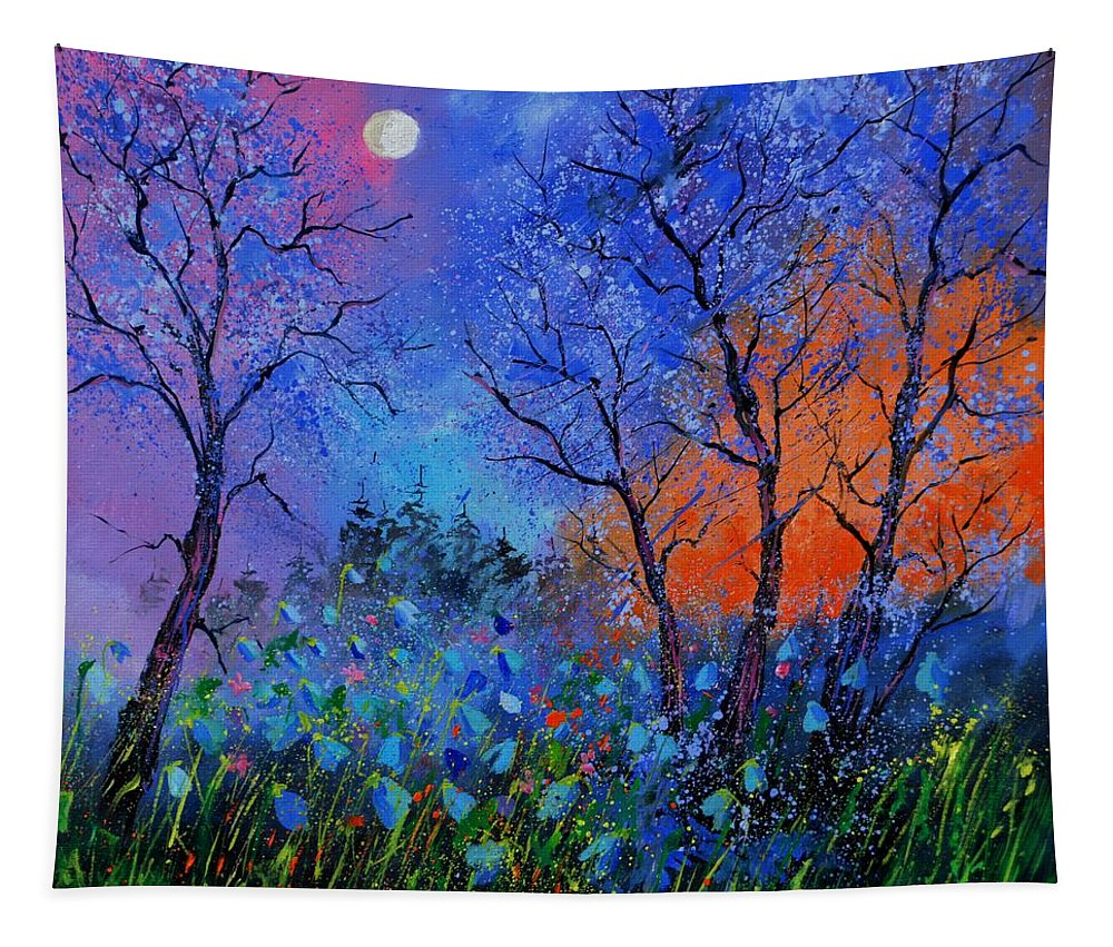 Landscape Tapestry featuring the painting Magic wood by Pol Ledent