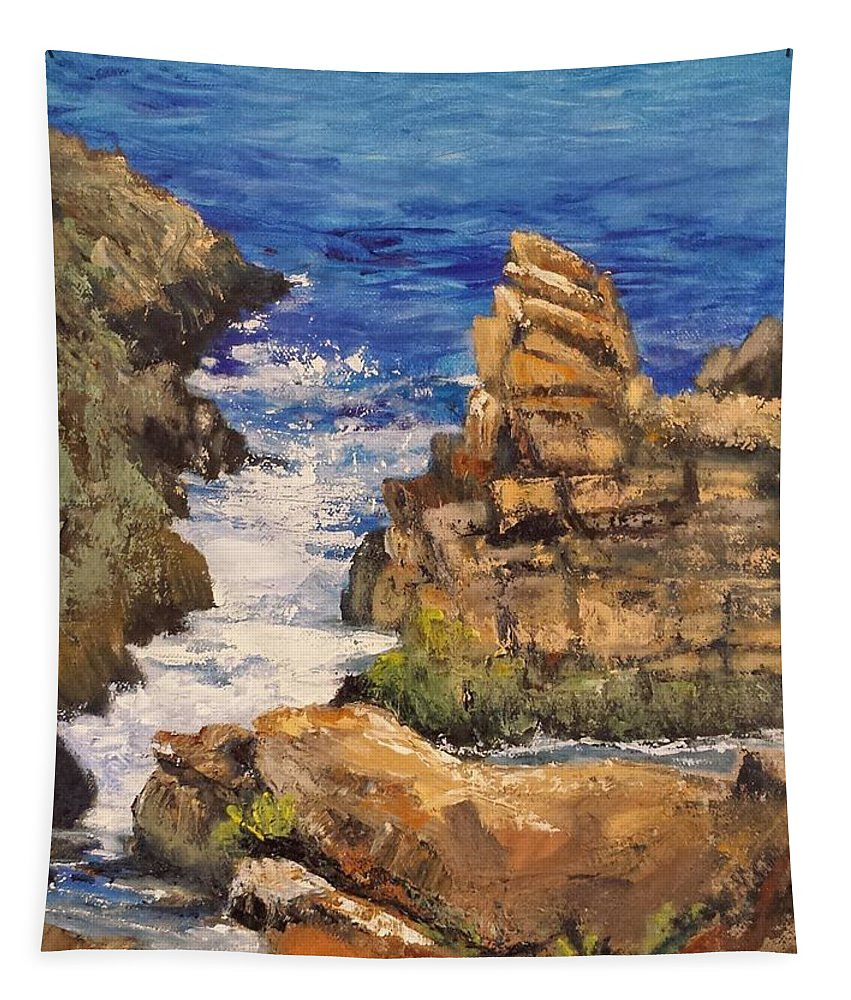 Blue Tapestry featuring the painting Marginal Inlet by Susan Hanna
