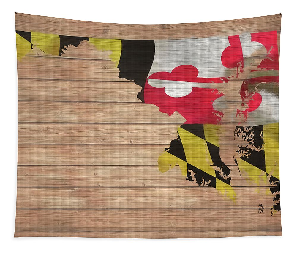 Maryland Rustic Map On Wood Tapestry featuring the mixed media Maryland Rustic Map On Wood by Dan Sproul
