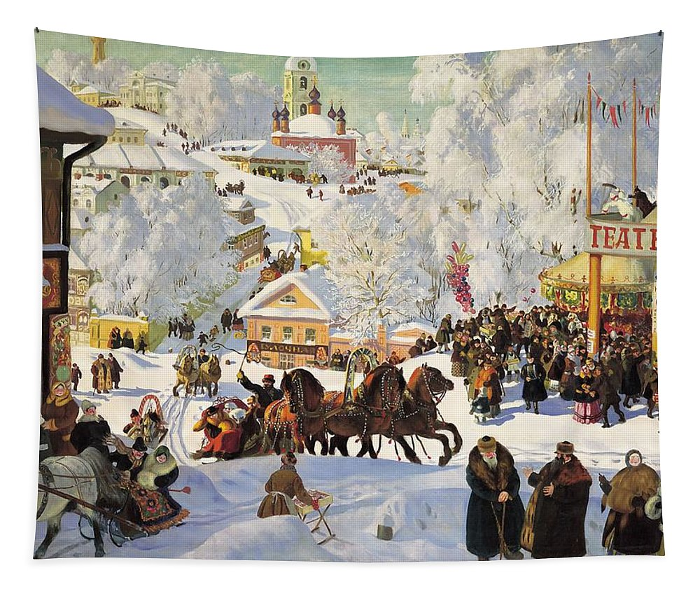 Painting Tapestry featuring the painting Maslenitsa by Mountain Dreams