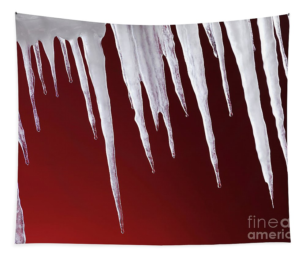 Icicles Tapestry featuring the photograph Melting Icicles by Oleksiy Maksymenko