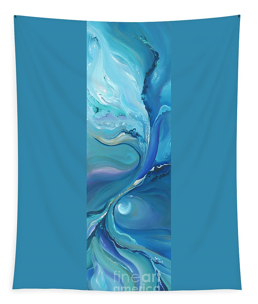 Moon Tapestry featuring the painting Moon River by Bettina Star-Rose