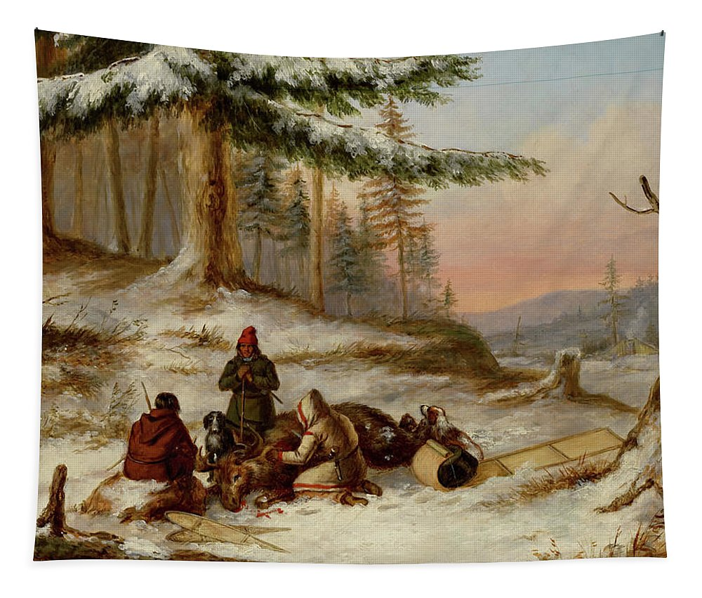 Painting Tapestry featuring the painting Moose Hunters by Cornelius Krieghoff