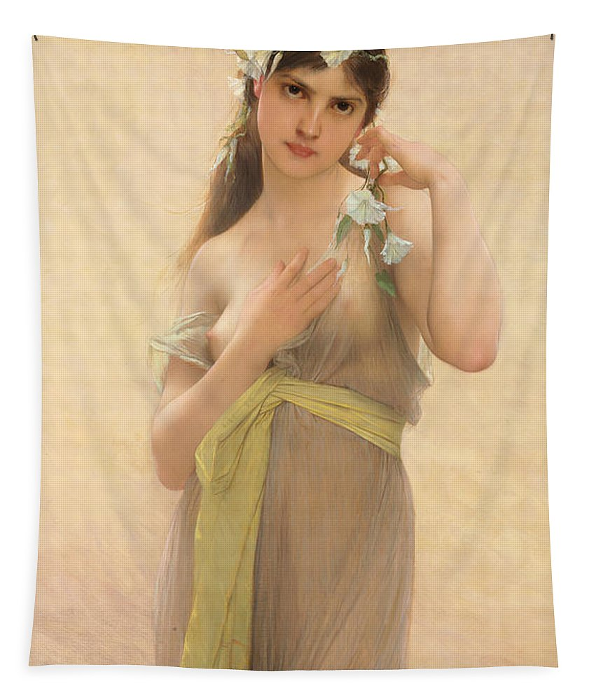 Female Tapestry featuring the painting Morning Glory by Jules Joseph Lefebvre