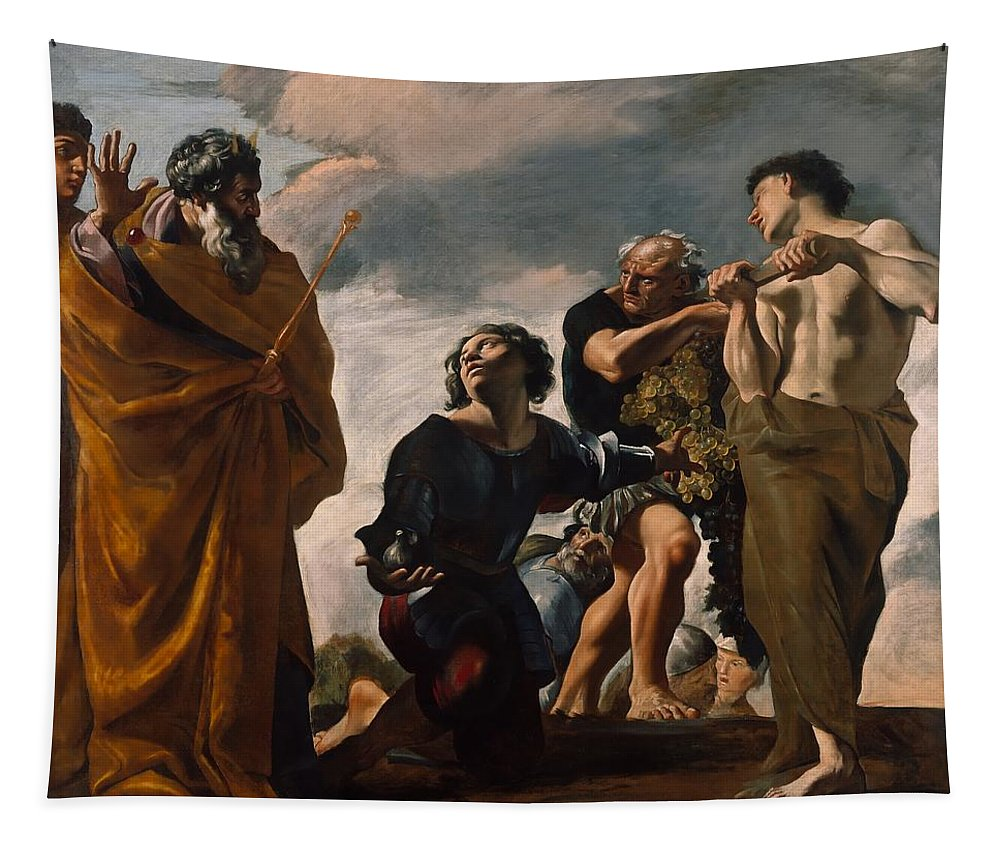 Painting Tapestry featuring the painting Moses And The Messengers From Canaan by Mountain Dreams