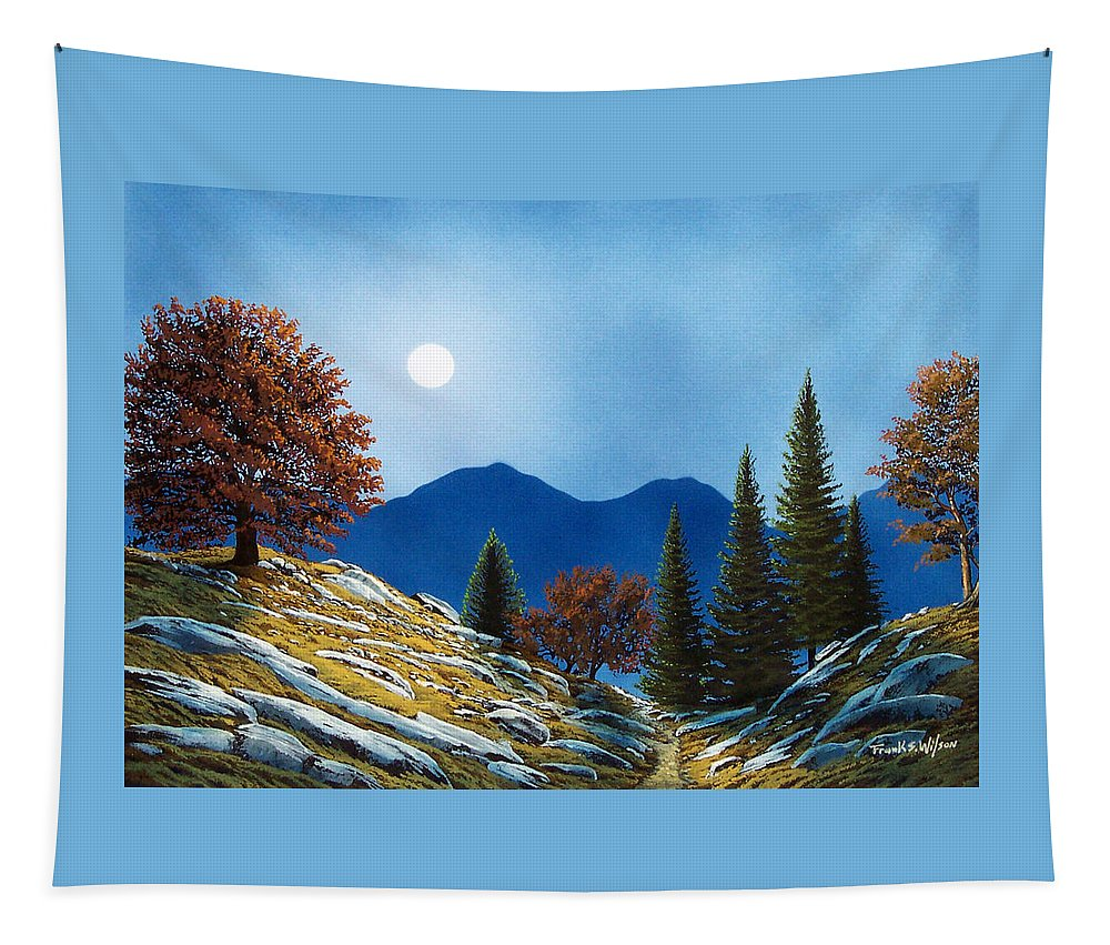Landscape Tapestry featuring the painting Mountain Moonrise by Frank Wilson
