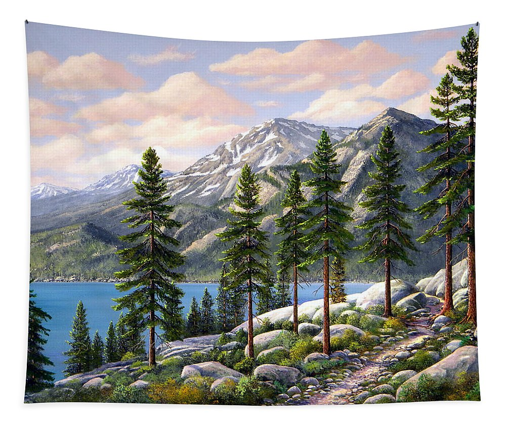 Landscape Tapestry featuring the painting Mountain Trail by Frank Wilson