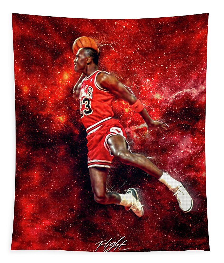 Mr. Michael Jeffrey Jordan Tapestry featuring the digital art Mr. Michael Jeffrey Jordan aka Air Jordan MJ by Nicholas Grunas