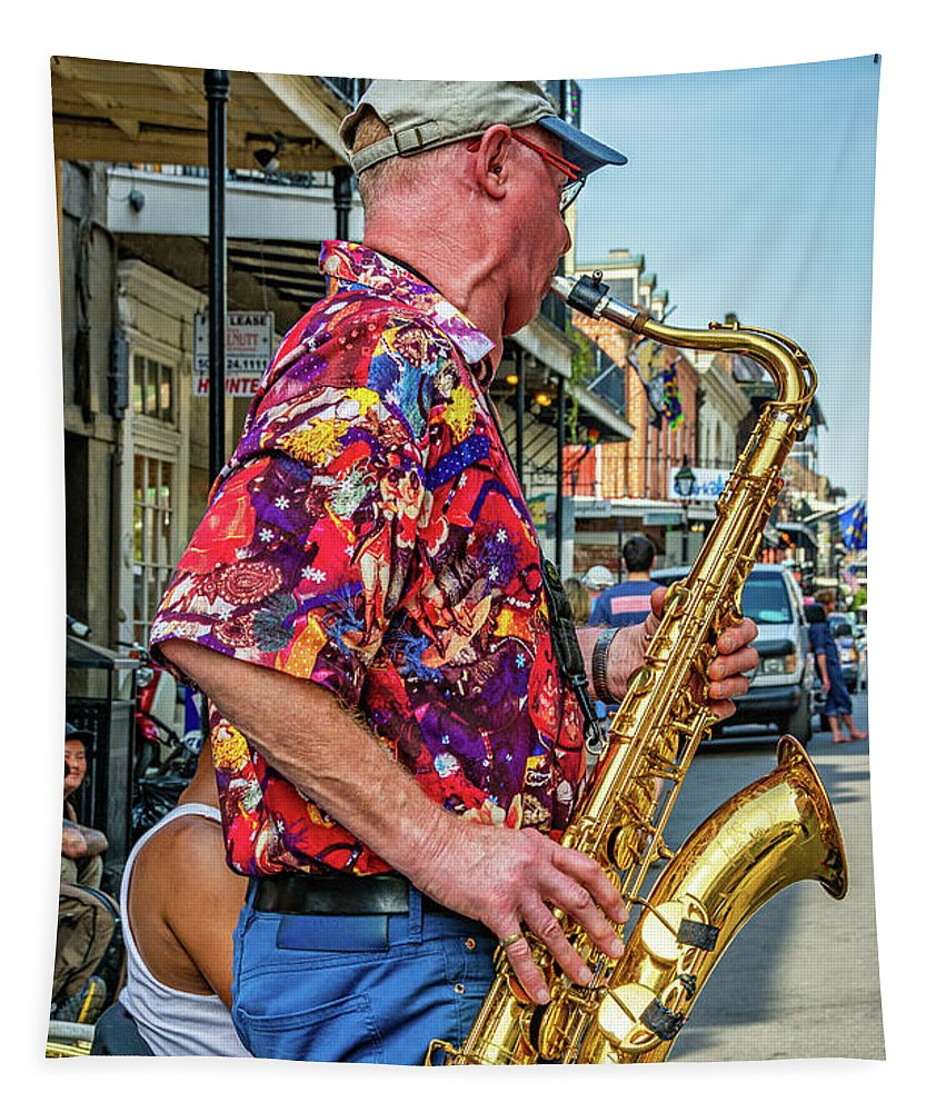 Steve Harrington Tapestry featuring the photograph New Orleans Jazz Sax by Steve Harrington