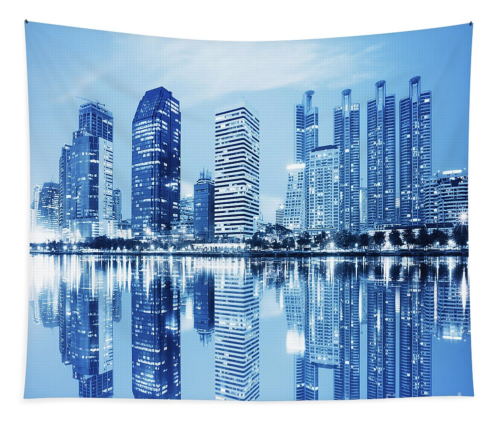 Architecture Tapestry featuring the photograph Night Scenes Of City by Setsiri Silapasuwanchai