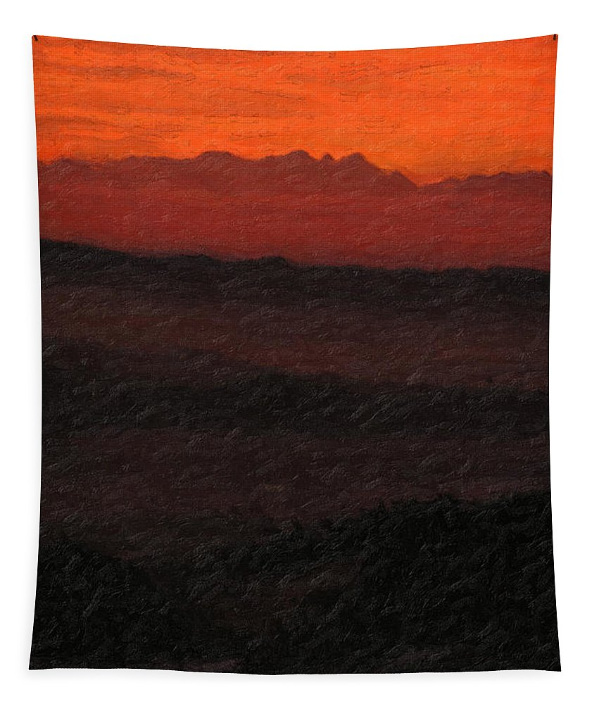 �not Quite Rothko� Collection By Serge Averbukh Tapestry featuring the photograph Not quite Rothko - Blood Red Skies by Serge Averbukh