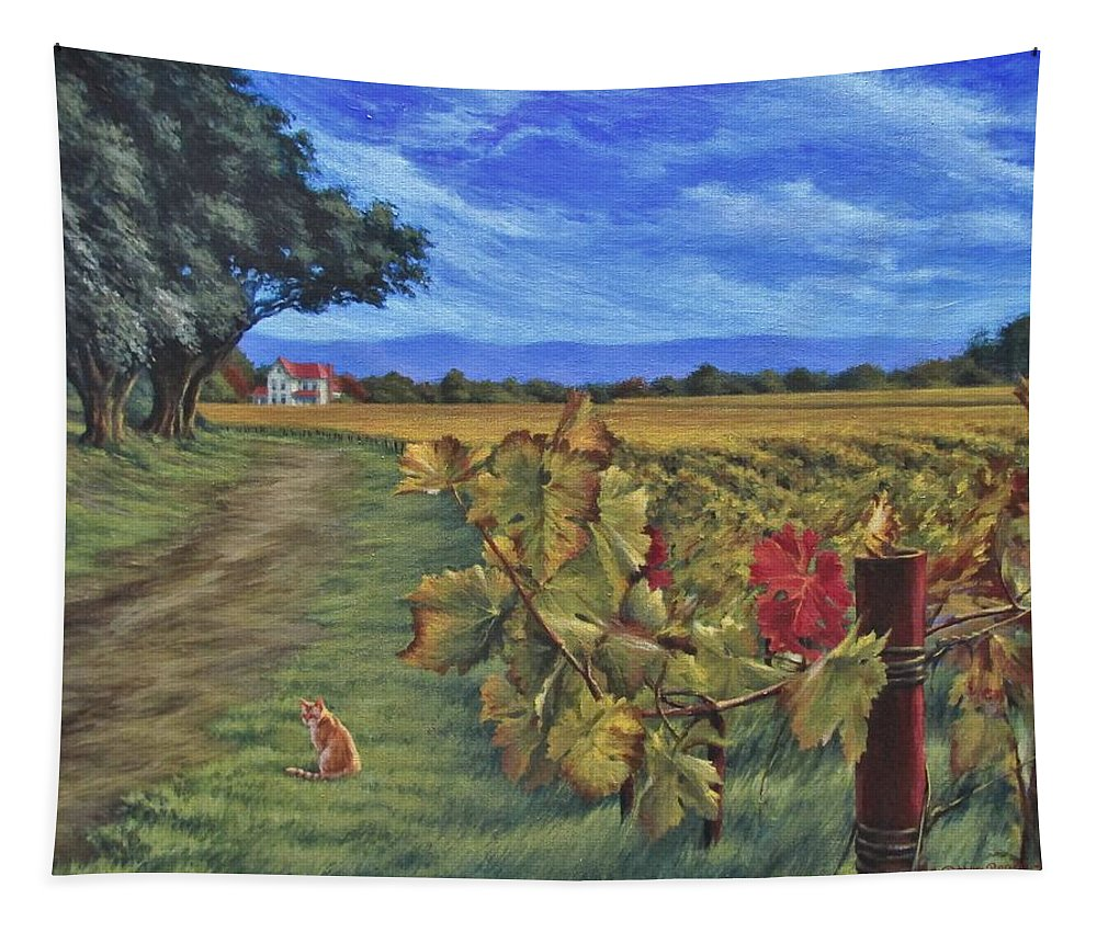 Napa Tapestry featuring the painting November Vineyard by Daniel Bosler