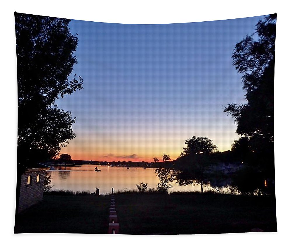 Sunset Tapestry featuring the photograph Obear Park And The Danvers River At Sunset by Scott Hufford