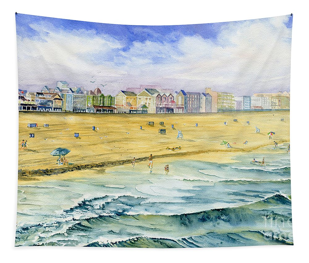 Ocean City Maryland Tapestry featuring the painting Ocean City Maryland by Melly Terpening