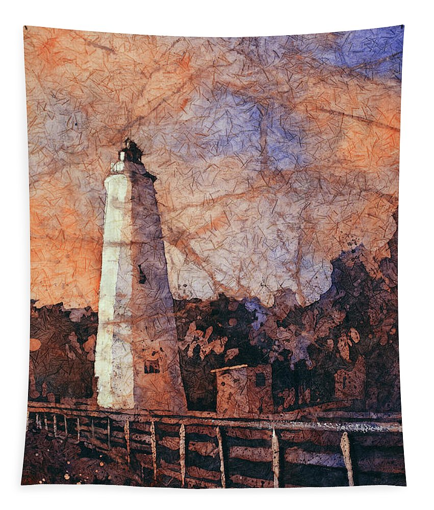 Painting Tapestry featuring the painting Ocracoke Island Lighthouse by Ryan Fox