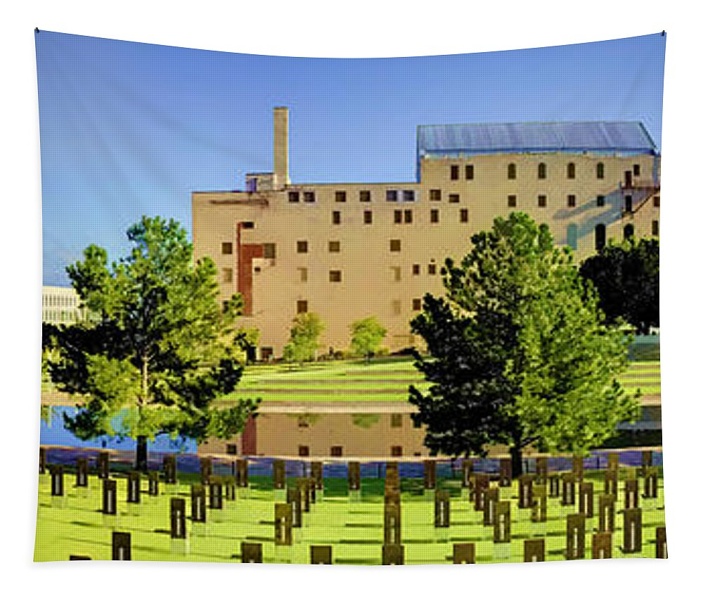 National Tapestry featuring the photograph Oklahoma City National Memorial by Ricky Barnard