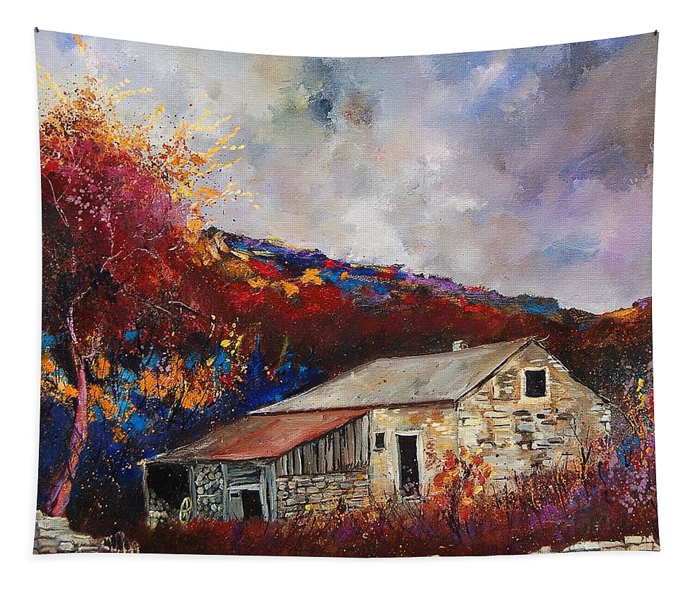 Village Tapestry featuring the painting Old barn by Pol Ledent