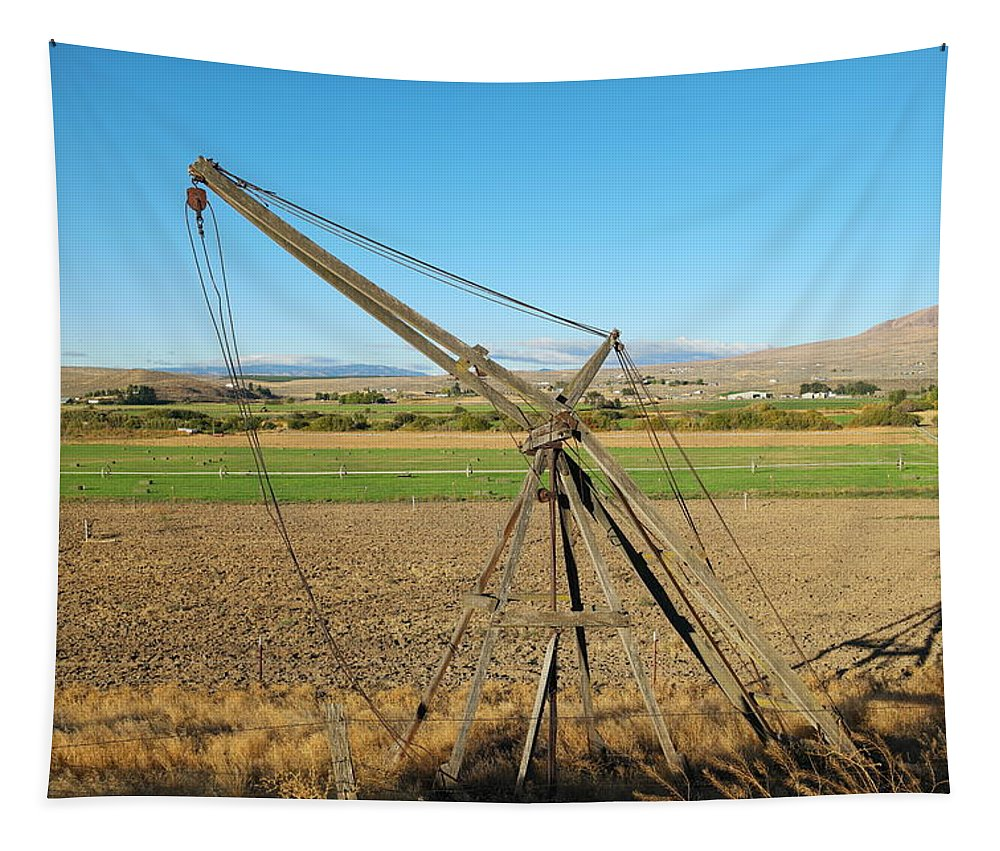Old Tapestry featuring the photograph Old Farm Equipment by Jeff Swan