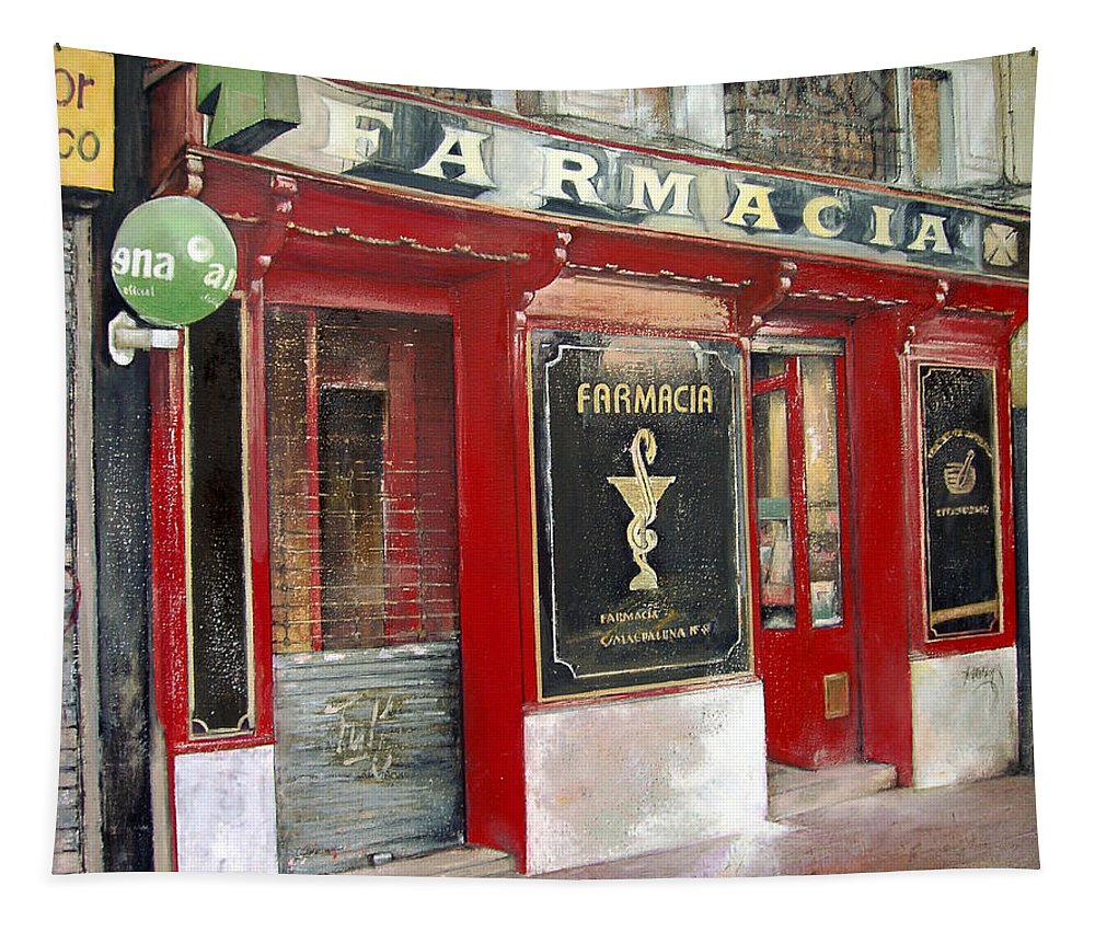 Farmacia Tapestry featuring the painting Old Pharmacy by Tomas Castano