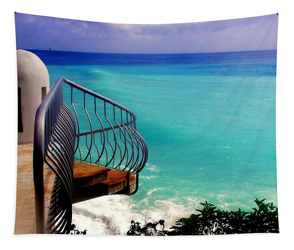 Seascapes Tapestry featuring the photograph On The Edge by Karen Wiles