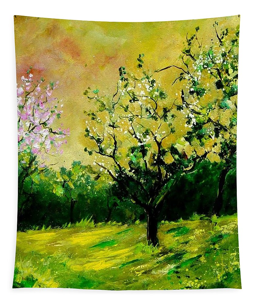 Landscape Tapestry featuring the painting Orchard by Pol Ledent