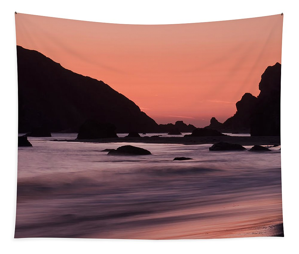 Brookings Tapestry featuring the photograph Oregon Coast Sunset by Don Schwartz