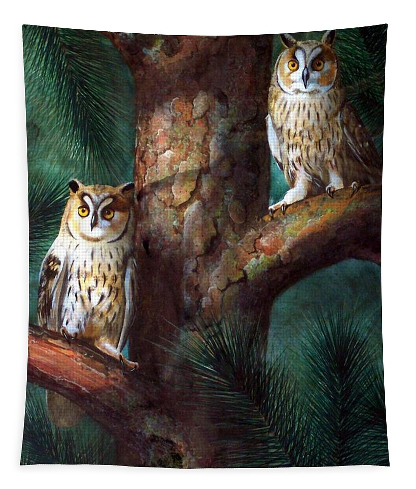 Wildlife Tapestry featuring the painting Owls In Moonlight by Frank Wilson