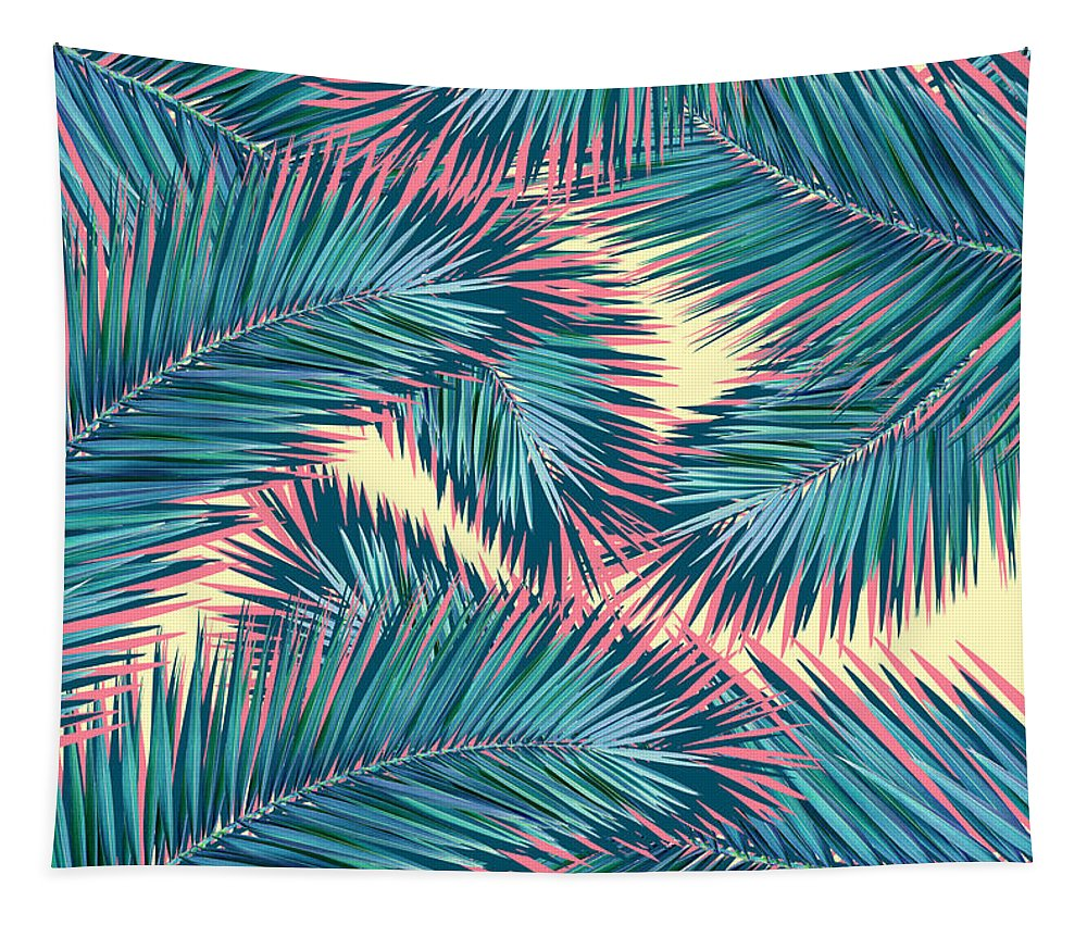 Summer Tapestry featuring the digital art Palm Trees by Mark Ashkenazi