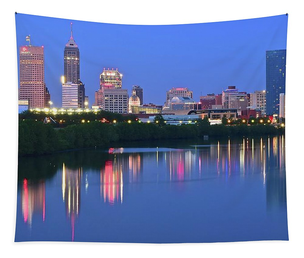Indianapolis Tapestry featuring the photograph Panoramic Indianapolis by Frozen in Time Fine Art Photography