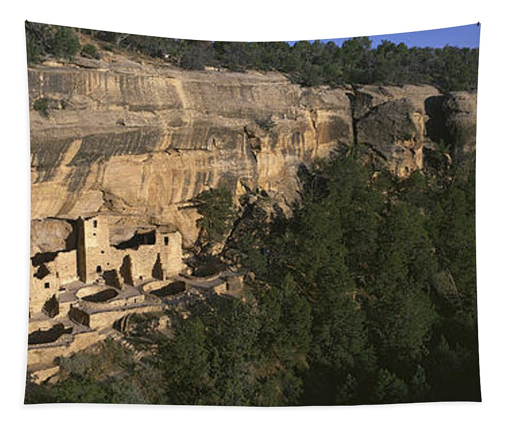 Photography Tapestry featuring the photograph Panoramic View Of Cliff Palace Cliff by Panoramic Images