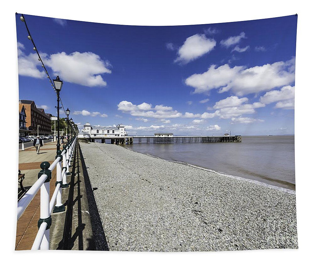 Penarth Pier Tapestry featuring the photograph Penarth Pier 4 by Steve Purnell