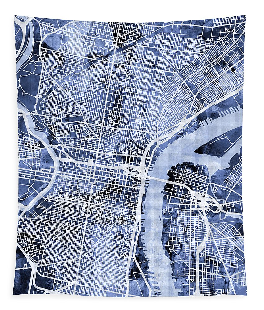 Street Map Tapestry featuring the digital art Philadelphia Pennsylvania City Street Map by Michael Tompsett